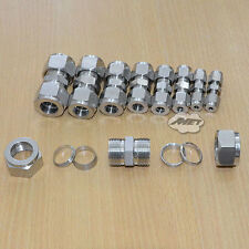 3mm-22mm Equal Straight Compression Coupler Pipe Fitting Double Ferrule SS304