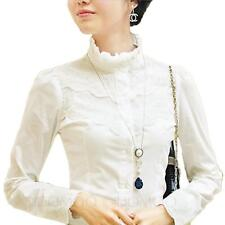 Summer Vintage Long Sleeve Shirt Lace Blouse Womens Fitted Smart Top Size 20-6