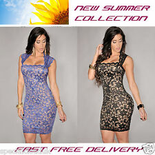 Lace Nude Illusion Vintage Dress Black Blue Party Sexy Fasion Summer woman