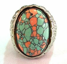 man's stainless steel Big  two tone turquoise ring large size 16,17,18