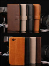 Luxury Leather Wallet Purse Case Credit Card Slot Cover For Various Mobile Phone