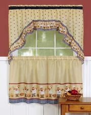 Cucina Kitchen Curtains Complete Set Tier & Swag Set Chefs Baking Bakery New
