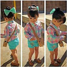 Outfits NEW 3PCS Baby Girls plaid shirt + bow hair + shorts Set Outfit 1-8Y