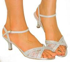 Sexy Strappy Lace Sandals*Rhinestone Bling*Comfy Medium Low Heel SILVER 8