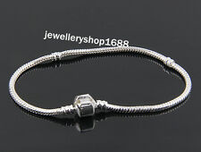 10 x Silver Plated Snake Chains Bracelet fit European Beads