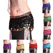 NEW belly dance Hip Scarf waistband belt skirt with colors Rhinestone&coins HOT