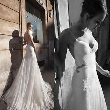 New Stylish White/Ivory Custom Made Mermaid Bridal Gowns Lace Wedding Dresses
