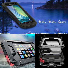 Black Metal Aluminum Water Shock Proof Hard SmartPhone Case Cover Tempered Glass