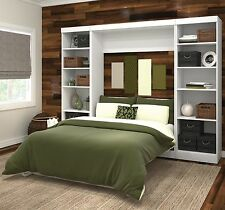 Full Size Murphy Bed Kit Wall Storage Unit Bookcase Display Shelves Guest Room
