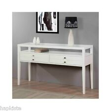 White Console Table With Glossy Finish Country Style Sofa Table Shelves Drawers