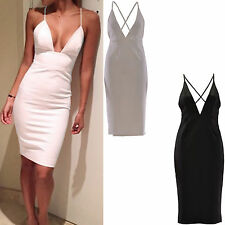 UK Womens Ladies Deep Plunge V neck Cross Back Midi Bodycon Fitted Stretch Party