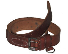 Polo Ralph Lauren Mens Brown Vintage Leather RL Logo 1942 Silver Buckle Belt New