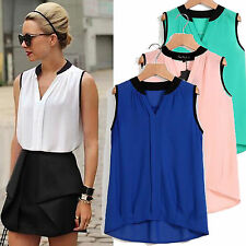 Women Ladies Summer Loose Casual Chiffon Sleeveless Vest Tank Shirt Top Blouse