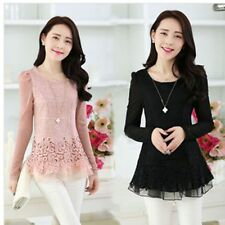 Fashion Women's Floral Chiffon Tops Long Sleeve Lace Crochet Shirt Casual Blouse