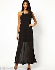 NEW LADIES ASOS STRAP EMBELLISHED BLACK MAXI DRESS UK SIZE 12 BNWOT