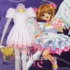 Cardcaptor Sakura White Dress Sakura Kinomoto Cosplay Costume Full Set FREE P&P