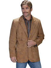 New Men's Soft Leather Western Cowboy Rodeo Blazer Jacket Maple