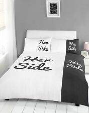 His and Her Side ~ DOUBLE or KINGSIZE DUVET SET ~ BLACK or TEAL or RED ����