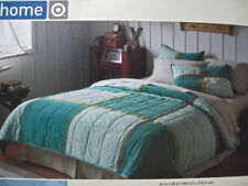 Blue/Brown Corduroy Quilt & Sham Set Cotton Color Block Twin Teal  Aqua Home NEW