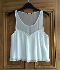Topshop New Off White Cream Pleated Mesh Jersey Vest Cami Top Size 8 10 14 Bnwot