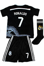 RONALDO #7 Real Madrid Black Home Kids Soccer Jersey & Shorts All Youth Sizes