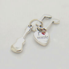 I Love Music Guitar Trinity Pendant Authentic Sterling silver Charm Spring 2015