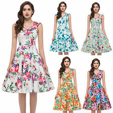 1950s Vintage Style Rockabilly Floral Retro Housewife Evening Pinup Swing Dress