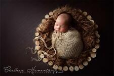 Long Pile Faux Fur Photo Prop - Cocoa Brown Soft Baby Photography Basket Stuffer