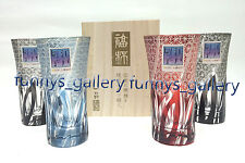 2 x Japanese Art Cut glass Edo Kiriko Pair Sake Glass Cup with Wooden Box Set