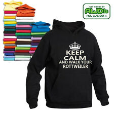 KEEP CALM & WALK YOUR ROTTWEILER HOODIE BREED CRUFTS YOUR DOG K9 DOG WORLD