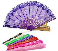 Spanish Style Folding Flower Floral Fabric Lace Dancing Wedding Party Hand Fan