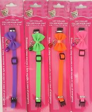 CAT COLLARS NEON BREAK-AWAY BUCKLE ADJUSTABLE BELL & BOW, SELECT: Color