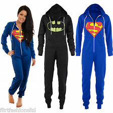 UNISEX ONESIE SUPERMAN BATMAN Hooded All In One Playsuit JumpSuit Womens Suit