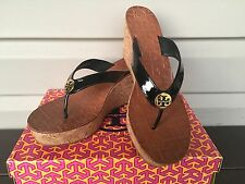 WOMENS TORY BURCH THORA CORK WEDGE SANDAL THONG PATENT LEATHER BLACK NEW! $165