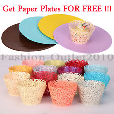 60pcs Filigree Cupcake Wrappers Lace Case Cake Decoration Wedding Birthday Party