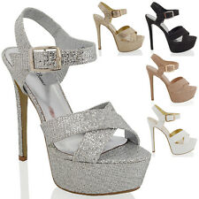 WOMENS PLATFORM HIGH HEEL STILETTO LADIES PARTY PROM PEEPTOE STRAPPY SANDALS 3-8