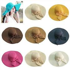 Women Summer Straw Hat Floppy Cap Sun Beach Large Brim Bowknot Foldable Casual