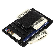 Mens Genuine Real Leather Wallet  Money Clip Credit Card Holder Photo ID Case