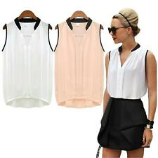 Vogue Womens Chiffon Shirt V-neck Splicing Irregular Hem Sleeveless Blouse Tops