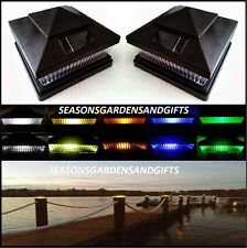 Solar Post Cap Deck Fence Color LED Lights 5x5 or 6x6 Black Colored 10 Pack