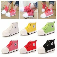 Kids Boy Girl High-Top Shoes Canvas Lace Up Zipper Star Sneakers Plimsolls Pumps