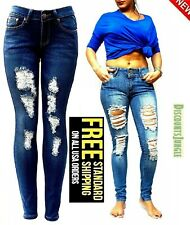 Cesttoi Womens Plus Size Distressed Ripped Destroy Blue Denim Jeans Skinny Pants