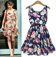 Womens Ladies Chiffon Summer / Beach Sleeveless Floral Womens Dress Size 8-12