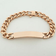 Unisex Personalised ROSE GOLD Steel ID Curb Link Bracelet with FREE ENGRAVING