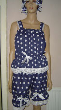 BLUE WHITE POLKA DOT VICTORIAN EDWARDIAN STYLE SWIM COSTUME BLOOMERS TOP