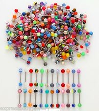 1 Piece - 50 Pieces Acrylic Random Lot Deal Tongue Barbell Ring Wholesale 14g