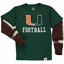 Youth Wes & Willy Green Miami Hurricanes Football Fooler Long Sleeve T-Shirt