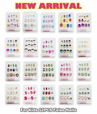NEW For KIDS CHILD GIRL DIY FALSE FAKE NAILS NAIL TIPS FRENCH 12pc SET GLUE-ON