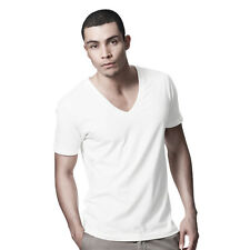 DANYEYI® Mens Plain Fitted Low Deep V Neck T Shirt Top White Or Black S-XL