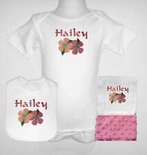 New Personalized Baby Girl Flowers Design One Piece Bib And Burp Cloth Set